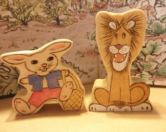 TAWNY SCRAWNY LION  Wood Toy Set Lion-Rabbit  Story Book Series
