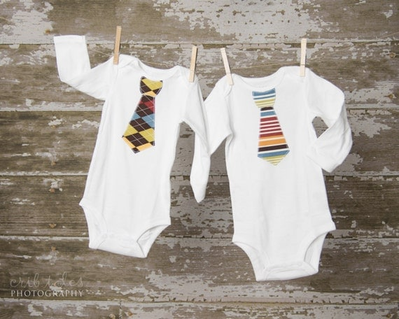Pair of Tie Bodysuits any size newborn to 24 months  Short or Long Sleeves