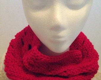 Red Knit Neckwarmer, Scarf, Collar, Wrap, Peek-a-Boo, Gift