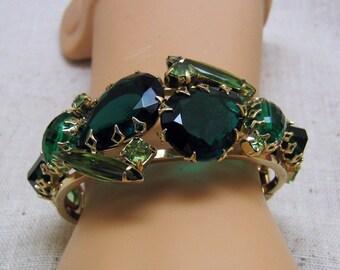 Green Rhinestone Juliana Style Clamper Bracelet