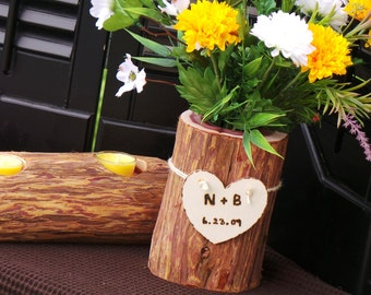 5th Wedding Anniversary Gift, Log Vase, Flowers &  Log Candle Holder