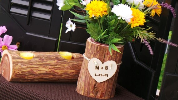 Wedding Gift Log : 5th Wedding Anniversary Gift, Log Vase, Flowers & Log Candle Holder