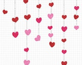 Glitter Heart Clipart Set, Wedding Clip Art Digital Download, Commercial Use Wedding Invitation Clipart