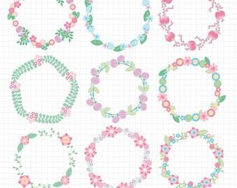 Easter Pastel Flower Wreath Clipart Circle Frame Wedding Clip Art Digital Download