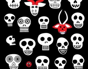 Skull Clipart Downloadable Image Day of the Dead Halloween Mask Sugar Skull Clip Art Digital Download