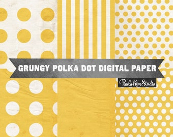 80% OFF SALE Grungy Texture Yellow Digital Paper, Polkadot Papers, Distressed Backgrounds with Polkadot and Stripe Patterns