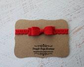 Mini Wool Felt Bow Headband in Red - Heart Lace Headband  - Newborn Baby to Adult - Hair Bows