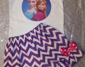 ELSA & ANNA Short Set / Frozen / SISTERS Forever / Purple Chevron/ Disney/ Disney Movie Inspired / Girl / Toddler / Custom Boutique Clothing