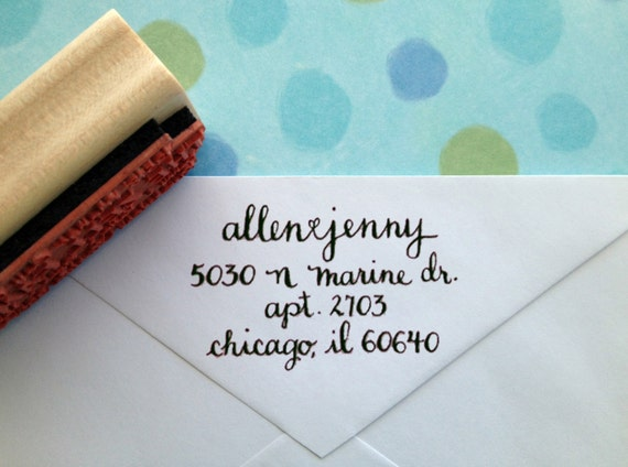 Scripty Hand-Calligraphy Rubber Return Address Stamp