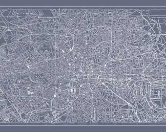 London Map - Street Map Vintage Poster Print Dr. Who Gray