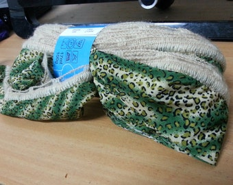 Green Printed Fabric Yarn, Fabric Lace Knitting, Orleans Teddy's Wool, Scarf Fabric Knitting,