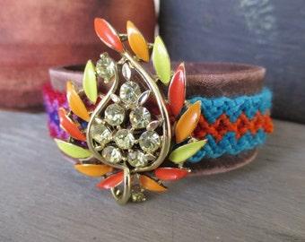 SALE Vintage rhinestone Friendship cuff bracelet - Twisted Tryst Autumn - leaf leather orange country bold colorful by slashKnots