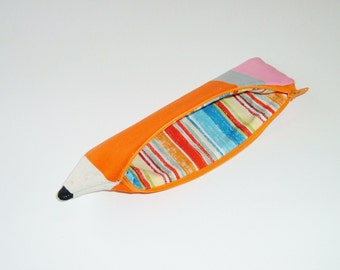 Pencil Shaped Pencil Pouch in Orange - Back to School - Gift Under 15