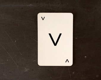 "Vintage Alphabet Card Letter ""V"" Black and White / Olive Green Back, 2-1/2 inches tall (c.1960s) - Wedding Table Letter, DIY Garland Cards"