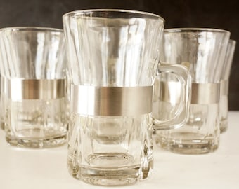 Vintage Beverage Mugs with Handles and Brushed Steel Band, Set of 8 (c.1950s) - Retro Mid Century Coffee or Tea Mugs