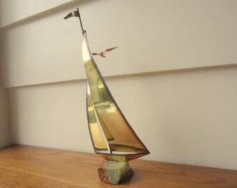 Brass and granite sail boat.  Nautical decor.  Mid Century art.