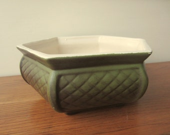 Classic 70s green textured hexagon planter by Haeger.  Home organization.