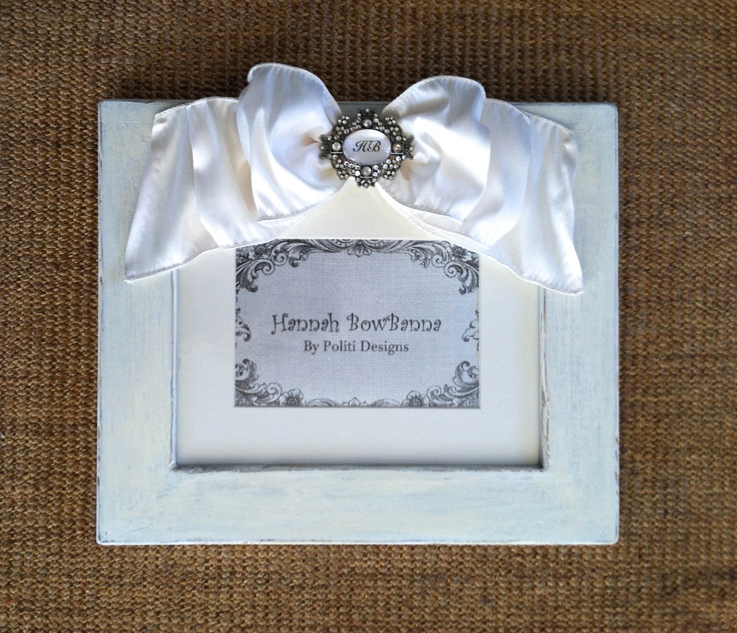 Personalized Wedding Picture Frames 8x10 : White Wedding 8x10 Frame Personalized Rustic Bow by HannahBowBanna
