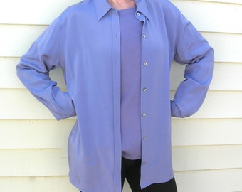 2 pc. Chico's Lavender Blue Silk Shirt/Jacket & Matching Long-Sleeved Silk T, sz 1 (S/M), Serenity - Pantone color of the year 2016