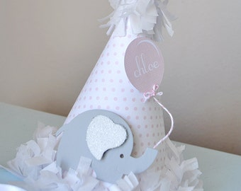 Girl's Little Elephant Birthday Hat, Special Occasion, Photo Prop