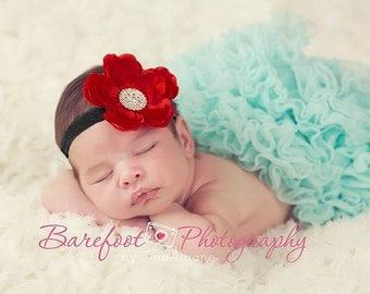 Baby Headband..Flower Headband for Baby..Red Flower Headband for Newborn Baby..Red and Black Headband..Toddler Headband..Christmas Headband