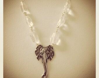 Lucky Elephant-Silver Elephant pendant and Quartz Crystal Necklace, strength, prosperity