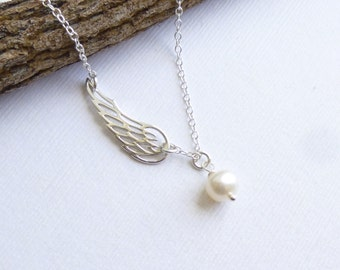Sterling Silver Angel Wing with Pearl Necklace.. Bridesmaids... mothers