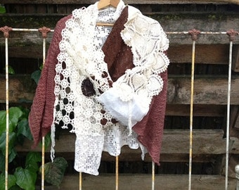 white brown ecru ivory vintage lace rustic clothing Western prairie Texas Bride Shabby Crochet Shrug shawl
