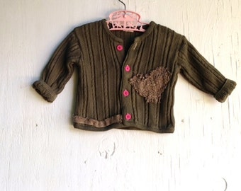 sweet olive rustic pink heart hand dyed hanna andersonn eco gypsy toddler cardigan lace sweater
