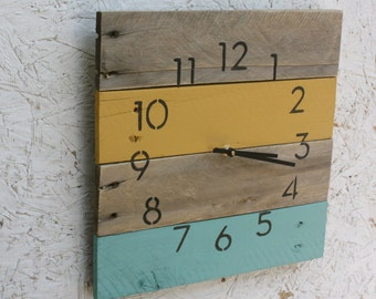 Reclaimed Pallet Wood Wall Clock.  Modern Numbers.  Yellow & Turquoise or CUSTOMIZE your colors