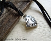 """ARTisan Made """"Fallin' Leaves"""" Necklace - Fine Silver - Leather"""
