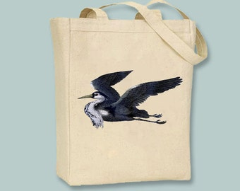 Vintage Grey Heron Illustration Canvas Tote -- Selection of sizes available