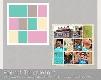 Digital Pocket Page PSD Scrapbook Template-Design 2
