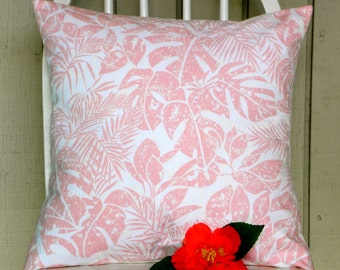 Pillow Cover - Vintage Pink and White Tropical Batik-Inspired Fabric - 16 x 16