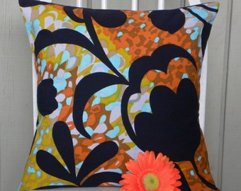 Pillow Cover - Vintage Black Floral Abstract Watercolor - Aqua, Mustard, Putty, Rust, Brown - 16 x 16