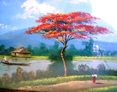 Painting of the Philippine country side form the late 1960's beautiful slice of life nature scene