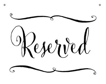 Reserved chair sign etsy for Reserved seating signs template