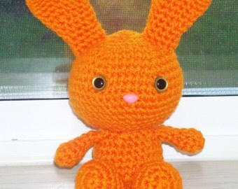 Sweet Bunny - Bright Orange Crochet Bunny Doll (Finished Doll)
