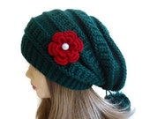 Slouchy Beanie, Green  Womens Beret Hat,  tricot and crochet,  unique gift, new design, warm, soft, cute, Fashion 2014