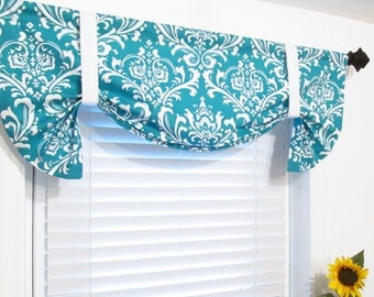 Turquoise Damask Tie Up Curtain VALANCE  Handmade in the USA
