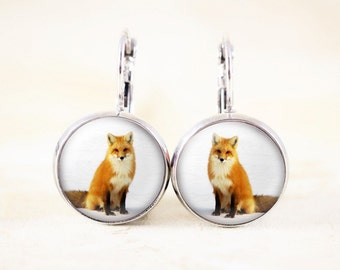 Silver Fox Earrings - Winter Fox Jewelry, Woodland Animal Earrings, Wildlife Photography Jewelry, Nature Earrings, Red Fox Animal Jewelry