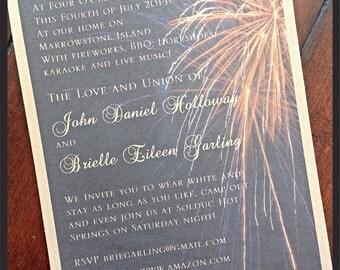 Rustic 4th of July Firework Wedding Invitation
