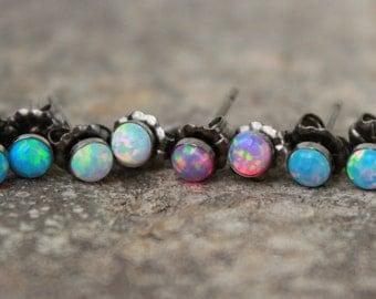 OPAL EARRINGS ~ Opal STUD Earrings ~ Dainty Opal Earrings - Gemstone Earrings - pick your opal - choose your opal earring - stud earring