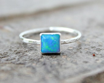 6mm Square Opal Stacking ring ~ Opal ring - STERLING SILVER Opal RING - Gemstone Ring - Handmade - modern - minimalist