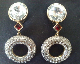 Vogue Bijoux earrings clips, with rhinestones swarovki