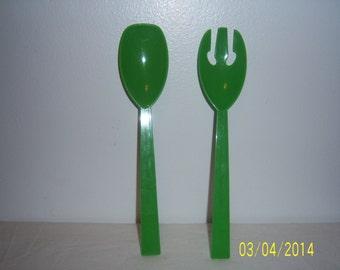 Salad Serving Set  -  Green Plastic Spoon And Fork Set  - Large Hard Plastic Salad Set