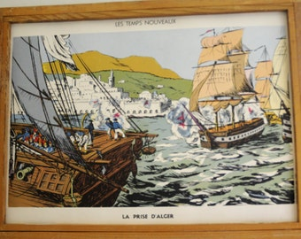 Original Vintage French School double-sided poster The Bastille and Invasion of Algiers