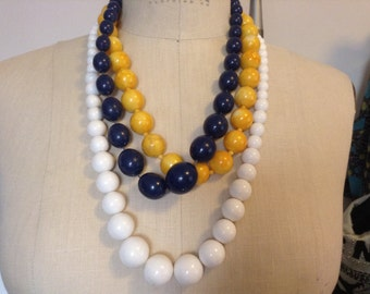 Lot Set of 2 Large Beaded Necklaces Yellow and  Blue.