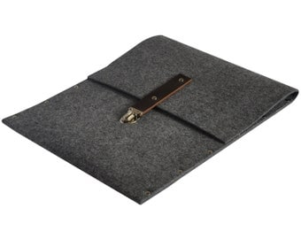 MacBook 13 Pro or 13 Air  Briefcase, Sleeve, Case, Cover, grey synthetic felt dark brown leather straps