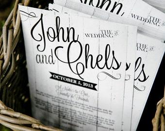 Dark or White Wood Wedding Program, Menu or Invitation
